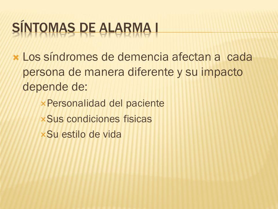 Síntomas de alarma ILos síndromes de demencia afectan a cada persona de manera diferente y su impacto depende de: