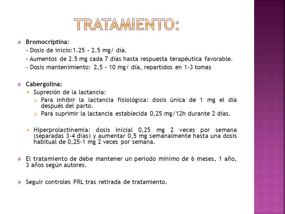 TRATAMIENTO: Bromocriptina: - Dosis de inicio:1.25 – 2.5 mg/ día.
