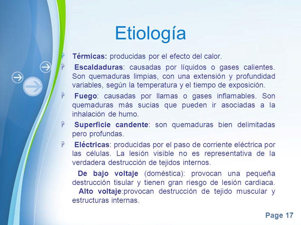 Etiología Térmicas: producidas por el efecto del calor.