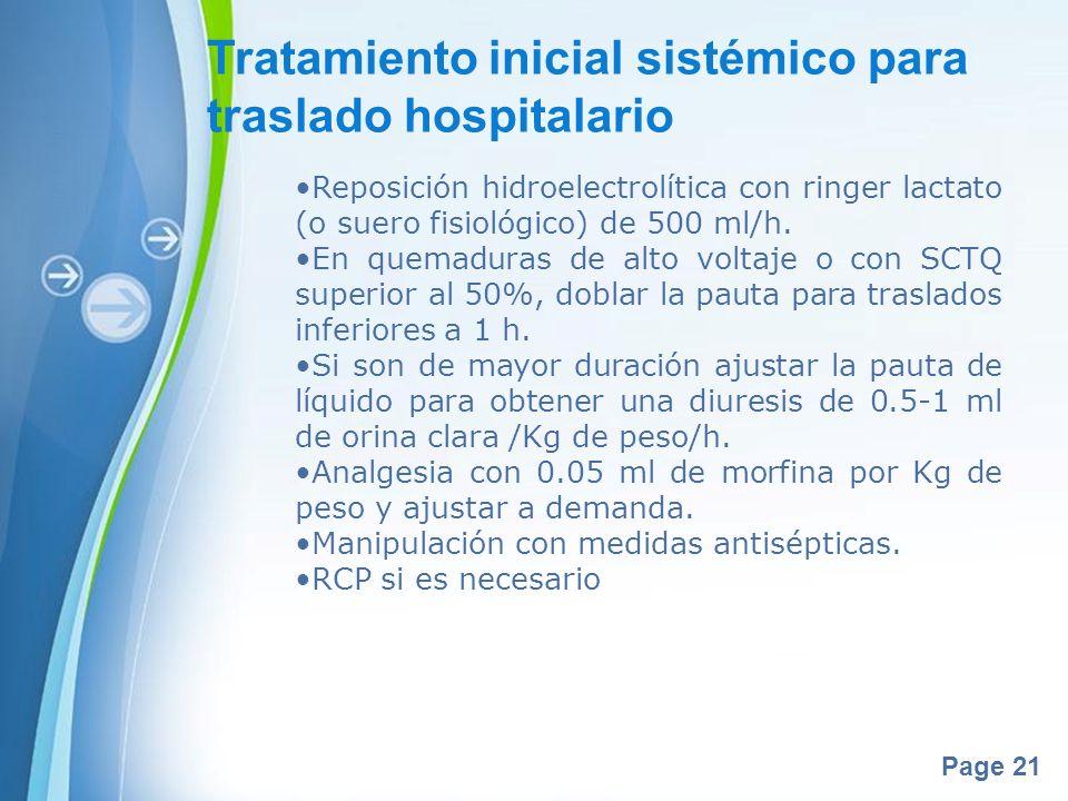 Tratamiento inicial sistémico para traslado hospitalario
