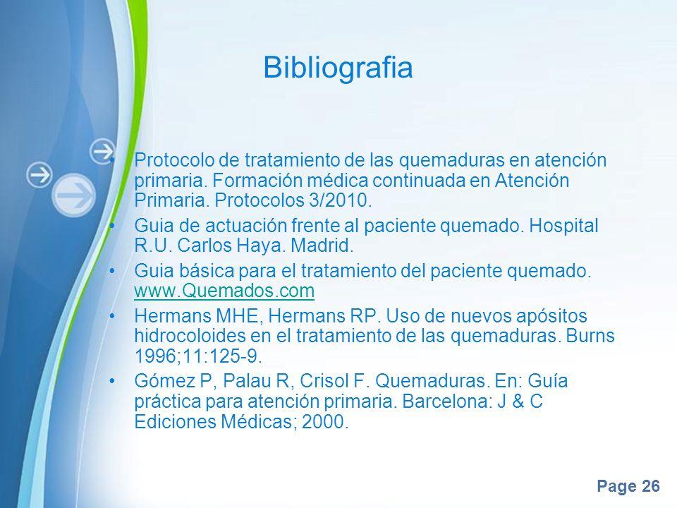 Bibliografia Protocolo de tratamiento de las quemaduras en atención primaria. Formación médica continuada en Atención Primaria. Protocolos 3/2010.
