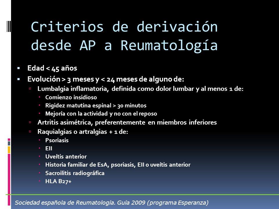 Criterios de derivación desde AP a Reumatología