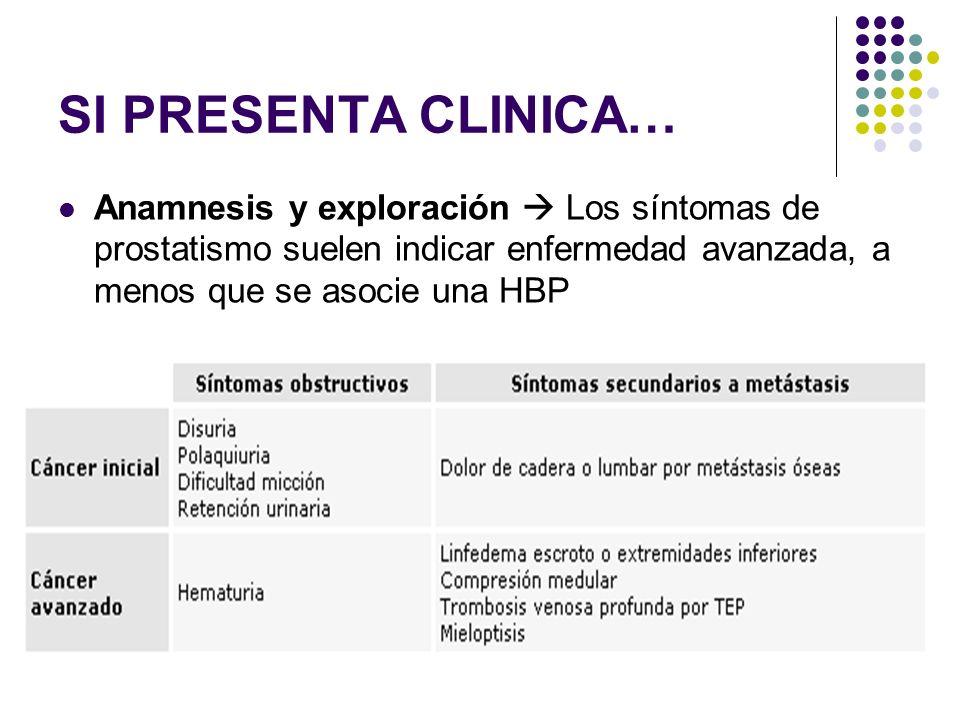 SI PRESENTA CLINICA…Anamnesis y exploración  Los síntomas de prostatismo suelen indicar enfermedad avanzada, a menos que se asocie una HBP.