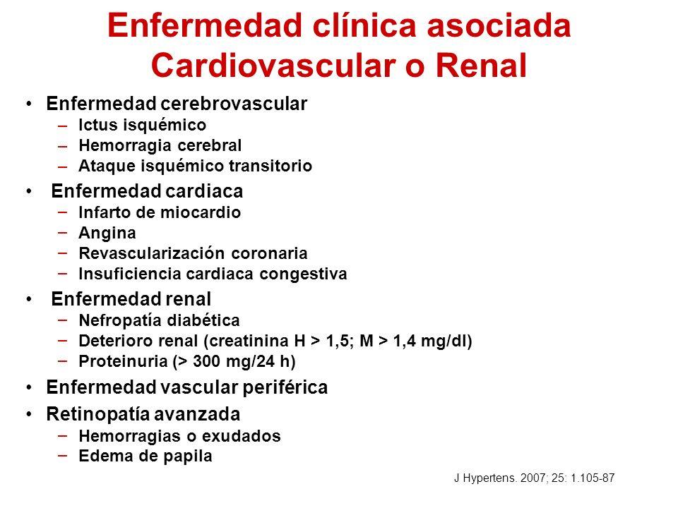 Enfermedad clínica asociada Cardiovascular o Renal