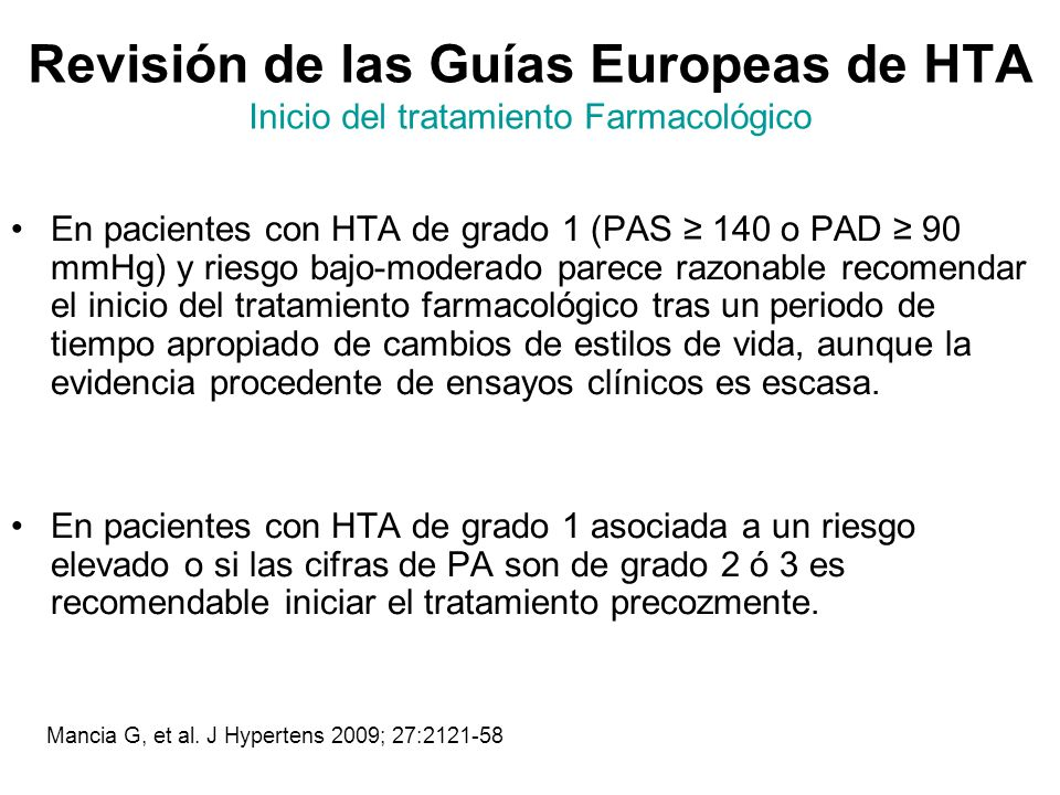 Revisión de las Guías Europeas de HTA Inicio del tratamiento Farmacológico