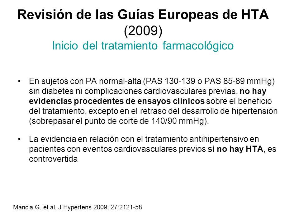 Revisión de las Guías Europeas de HTA (2009) Inicio del tratamiento farmacológico