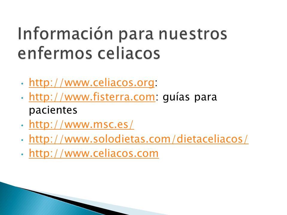 Información para nuestros enfermos celiacos