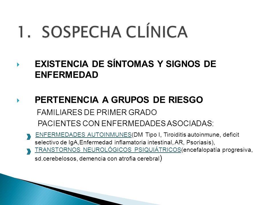 SOSPECHA CLÍNICA EXISTENCIA DE SÍNTOMAS Y SIGNOS DE ENFERMEDAD