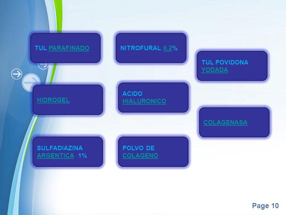 TUL PARAFINADONITROFURAL 0.2% TUL POVIDONA YODADA. ACIDO HIALURONICO. HIDROGEL. COLAGENASA. SULFADIAZINA ARGENTICA 1%