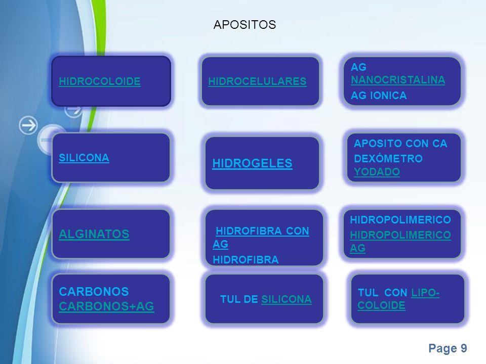 APOSITOS HIDROGELES ALGINATOS CARBONOS CARBONOS+AG HIDROCOLOIDE