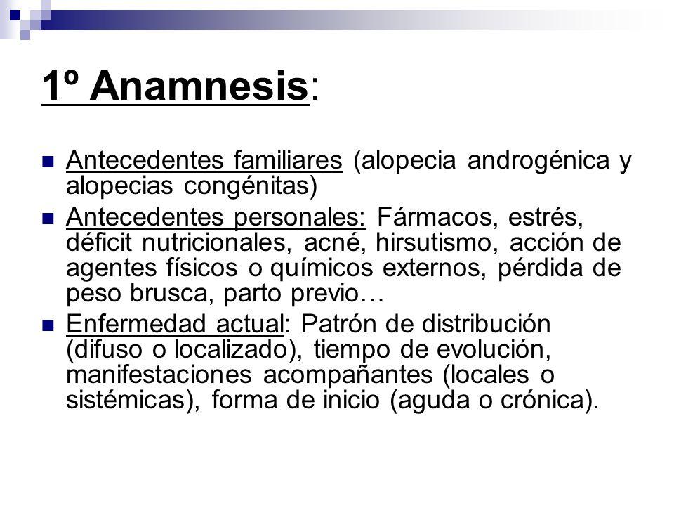 1º Anamnesis: Antecedentes familiares (alopecia androgénica y alopecias congénitas)