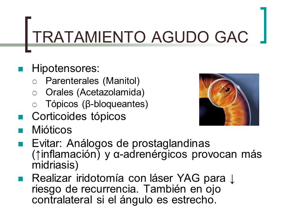 TRATAMIENTO AGUDO GAC Hipotensores: Corticoides tópicos Mióticos