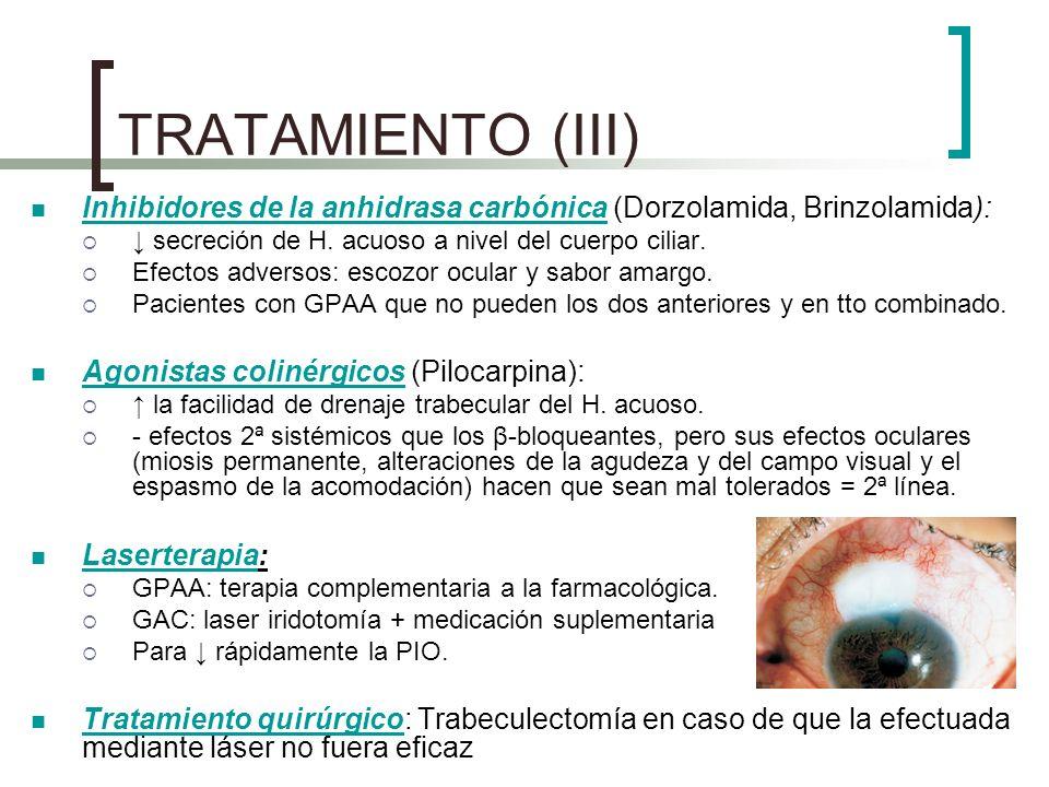 TRATAMIENTO (III) Inhibidores de la anhidrasa carbónica (Dorzolamida, Brinzolamida): ↓ secreción de H. acuoso a nivel del cuerpo ciliar.