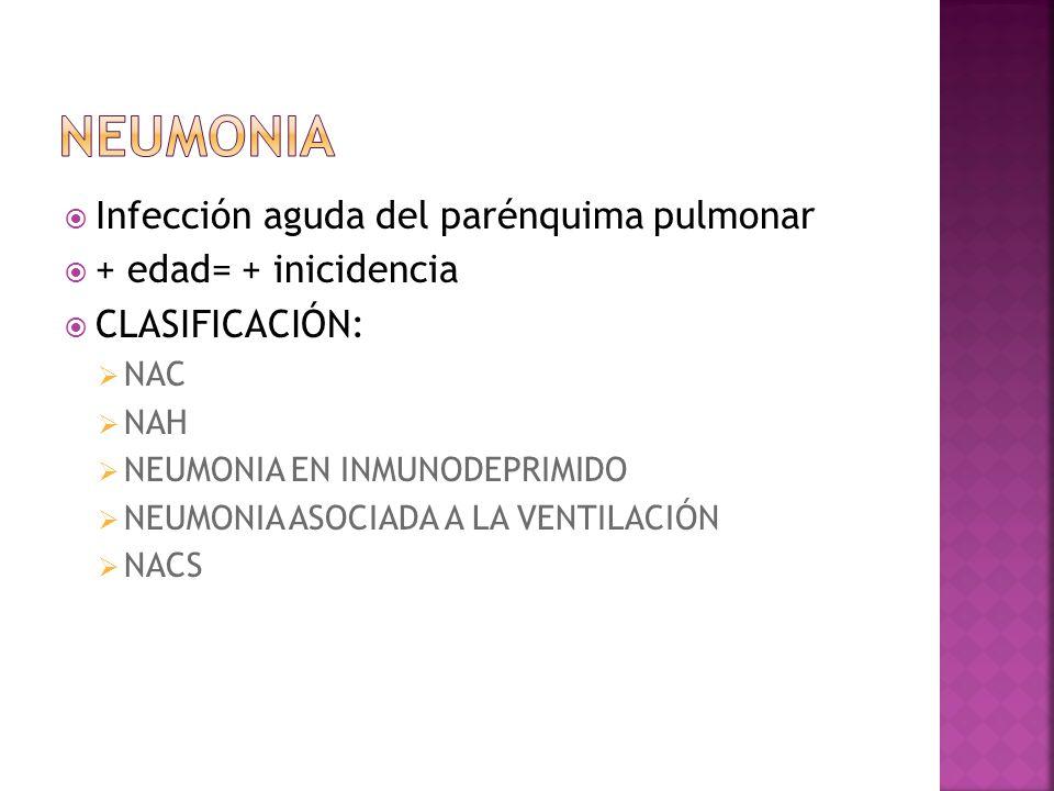 Neumonia Infección aguda del parénquima pulmonar + edad= + inicidencia