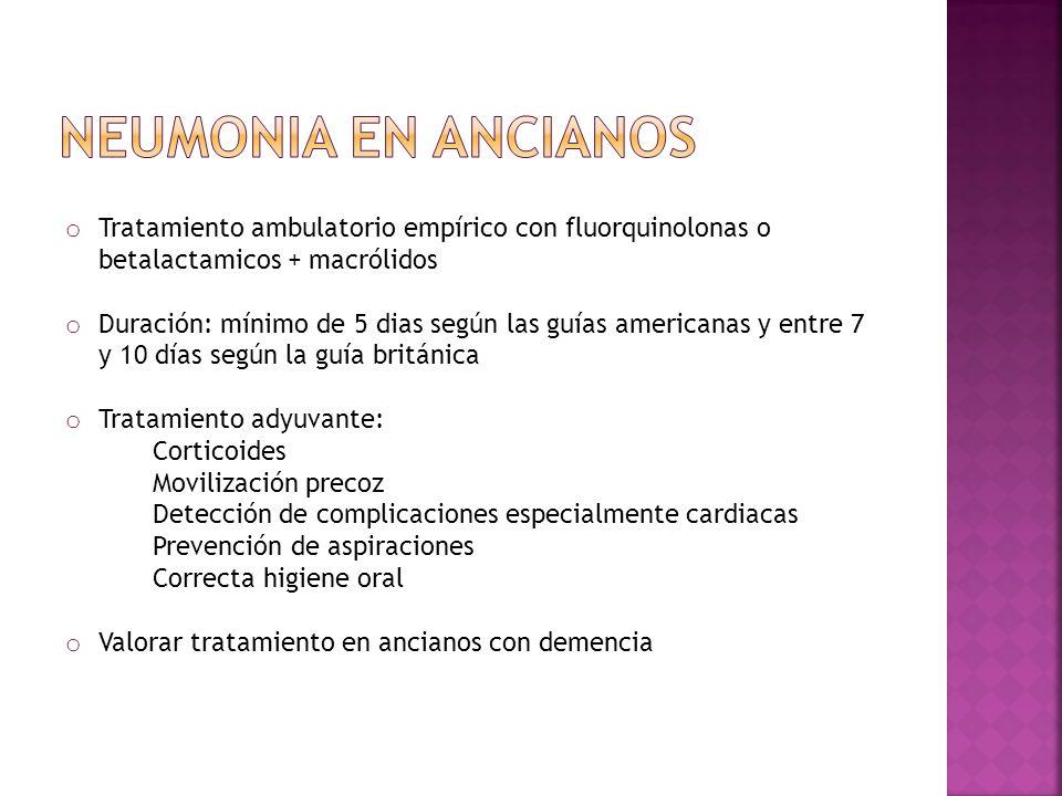 Neumonia en ancianos Tratamiento ambulatorio empírico con fluorquinolonas o betalactamicos + macrólidos.