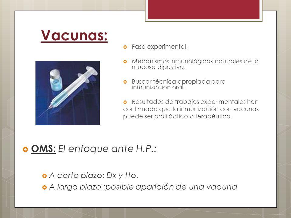 Vacunas: OMS: El enfoque ante H.P.: A corto plazo: Dx y tto.