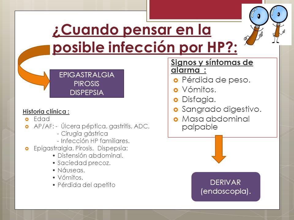 ¿Cuando pensar en la posible infección por HP :