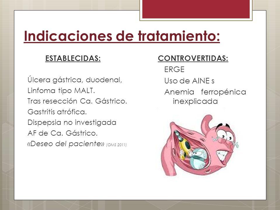 Indicaciones de tratamiento: