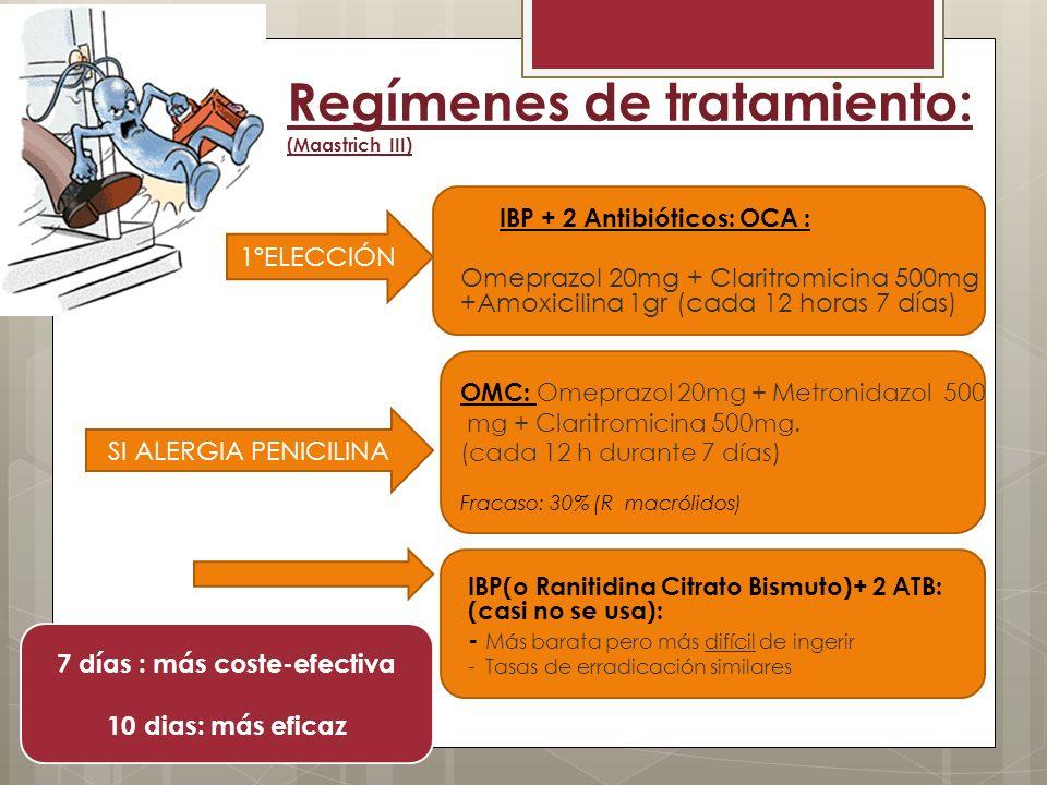Regímenes de tratamiento: (Maastrich III)
