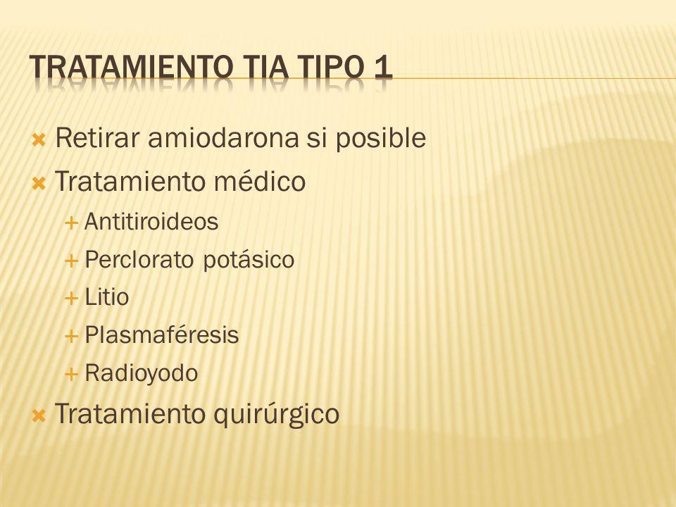 Tratamiento TIA tipo 1 Retirar amiodarona si posible