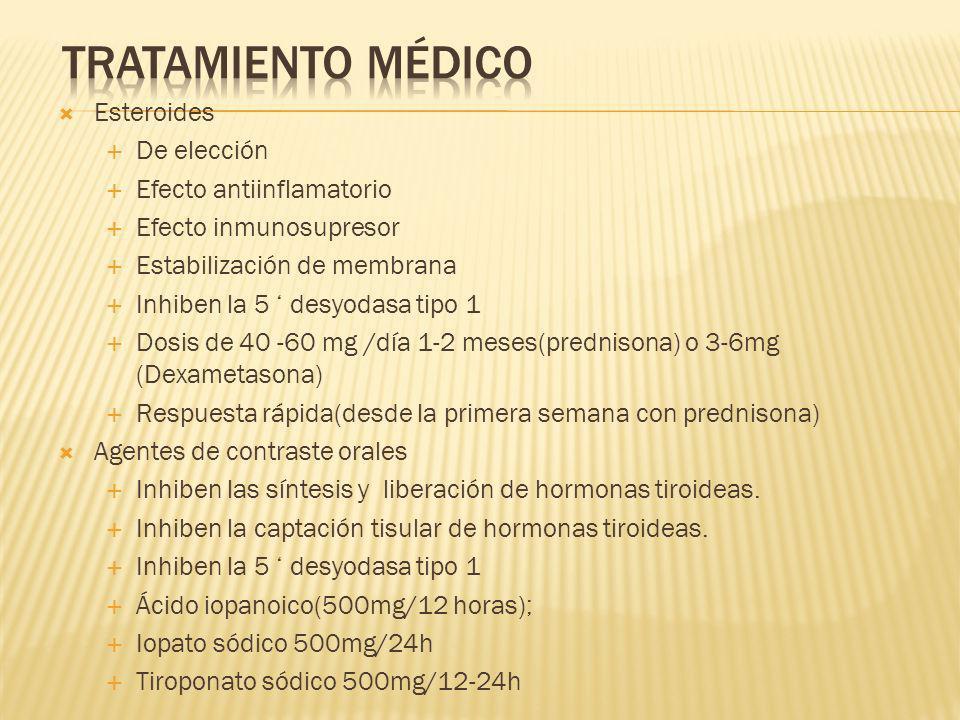 Tratamiento médico Esteroides De elección Efecto antiinflamatorio