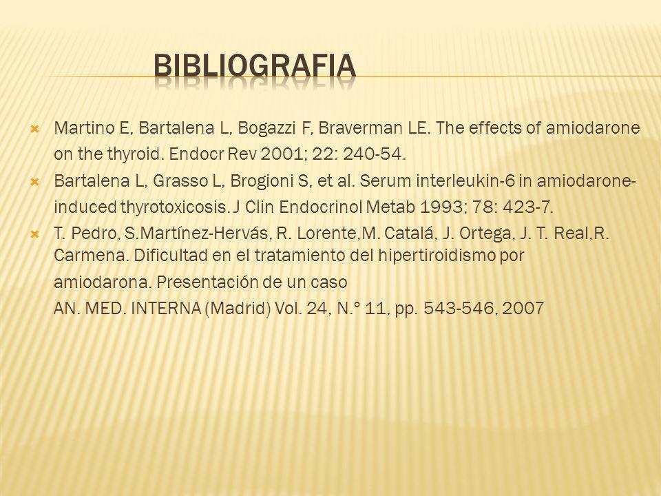 bibliografiaMartino E, Bartalena L, Bogazzi F, Braverman LE. The effects of amiodarone. on the thyroid. Endocr Rev 2001; 22: 240-54.