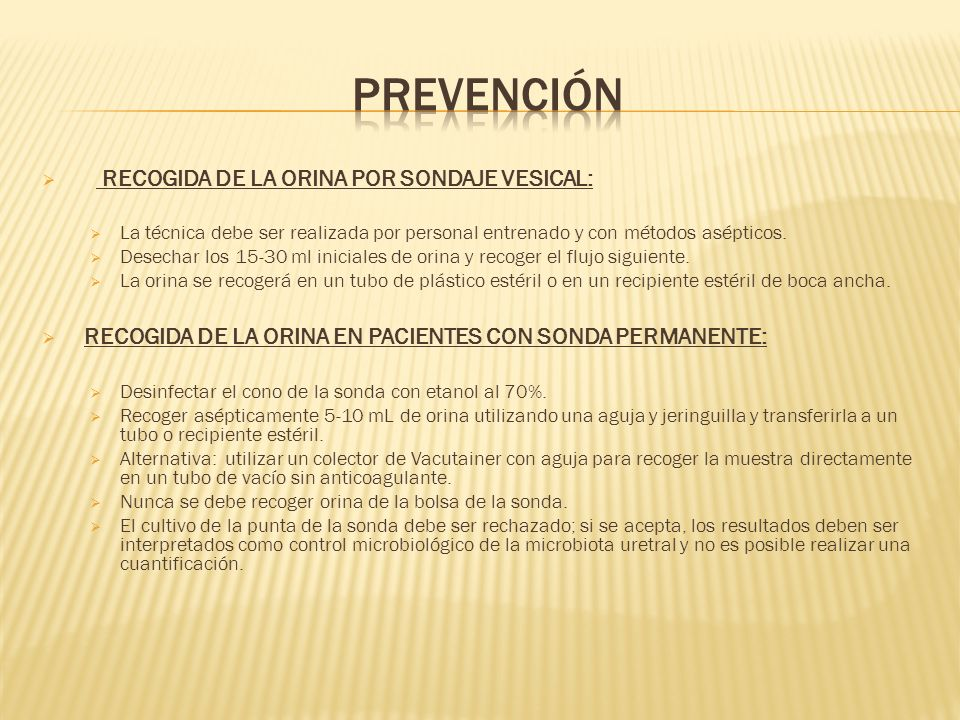 prevención RECOGIDA DE LA ORINA POR SONDAJE VESICAL:
