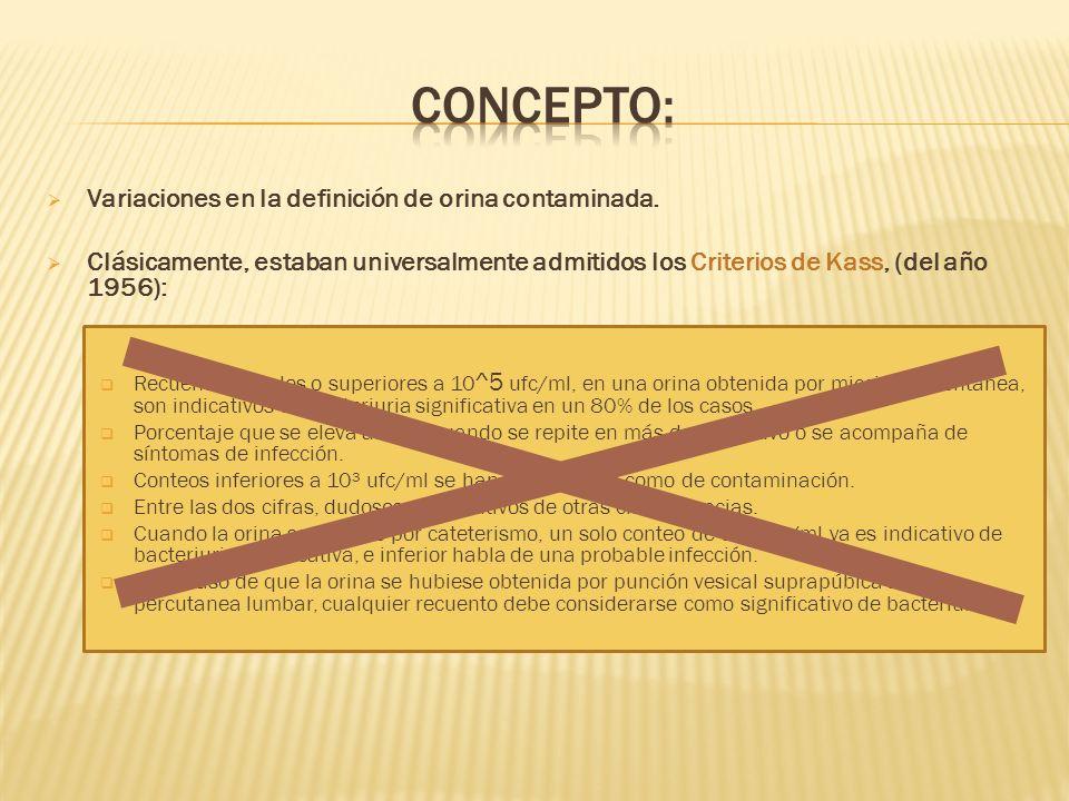Concepto: Variaciones en la definición de orina contaminada.