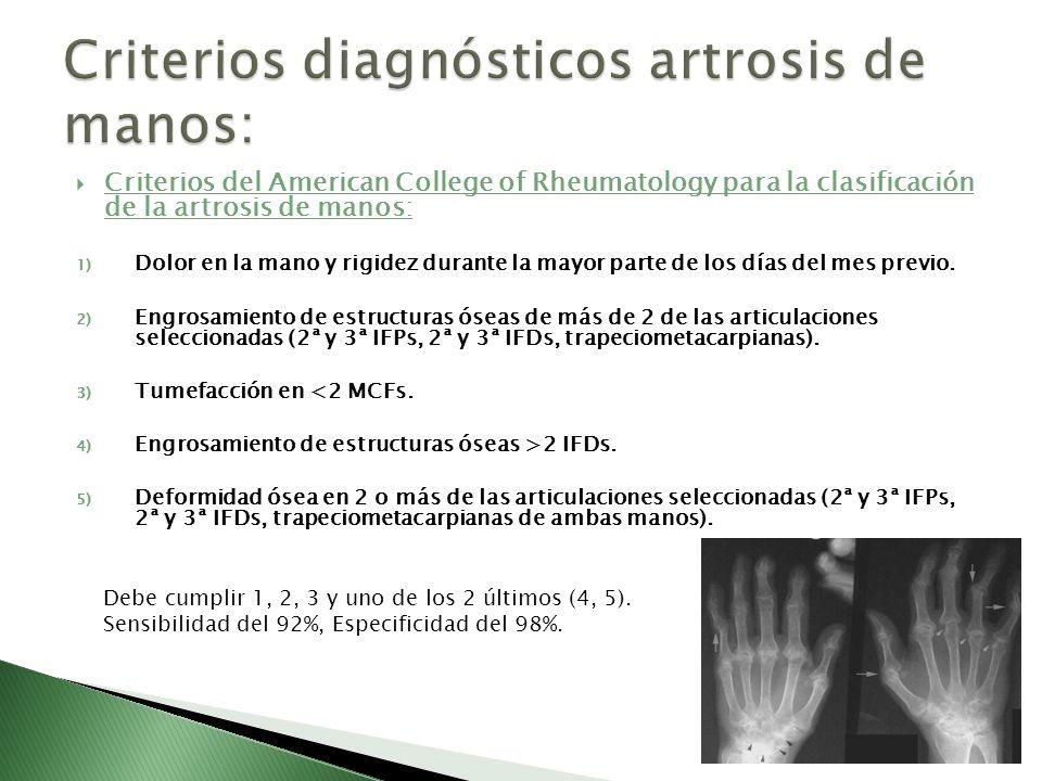 Criterios diagnósticos artrosis de manos: