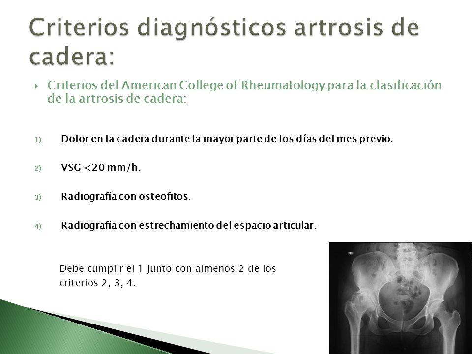 Criterios diagnósticos artrosis de cadera: