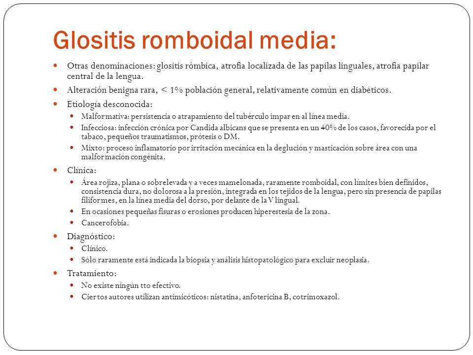 Glositis romboidal media: