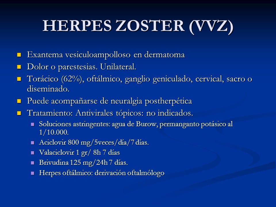 HERPES ZOSTER (VVZ) Exantema vesiculoampolloso en dermatoma