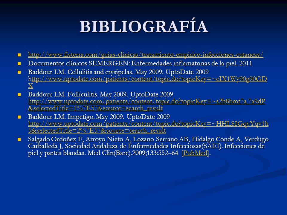 BIBLIOGRAFÍAhttp://www.fisterra.com/guias-clinicas/tratamiento-empirico-infecciones-cutaneas/