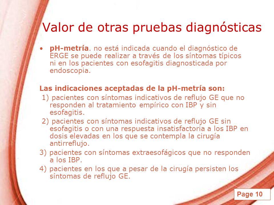 Valor de otras pruebas diagnósticas