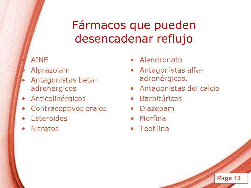 Fármacos que pueden desencadenar reflujo
