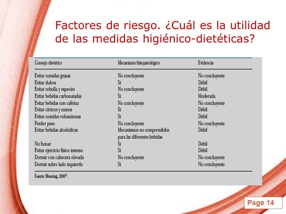 Factores de riesgo. ¿Cuál es la utilidad de las medidas higiénico-dietéticas