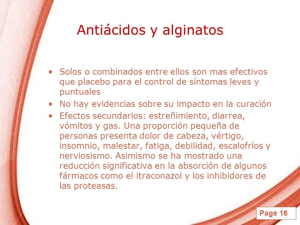 Antiácidos y alginatos