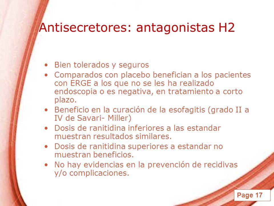 Antisecretores: antagonistas H2