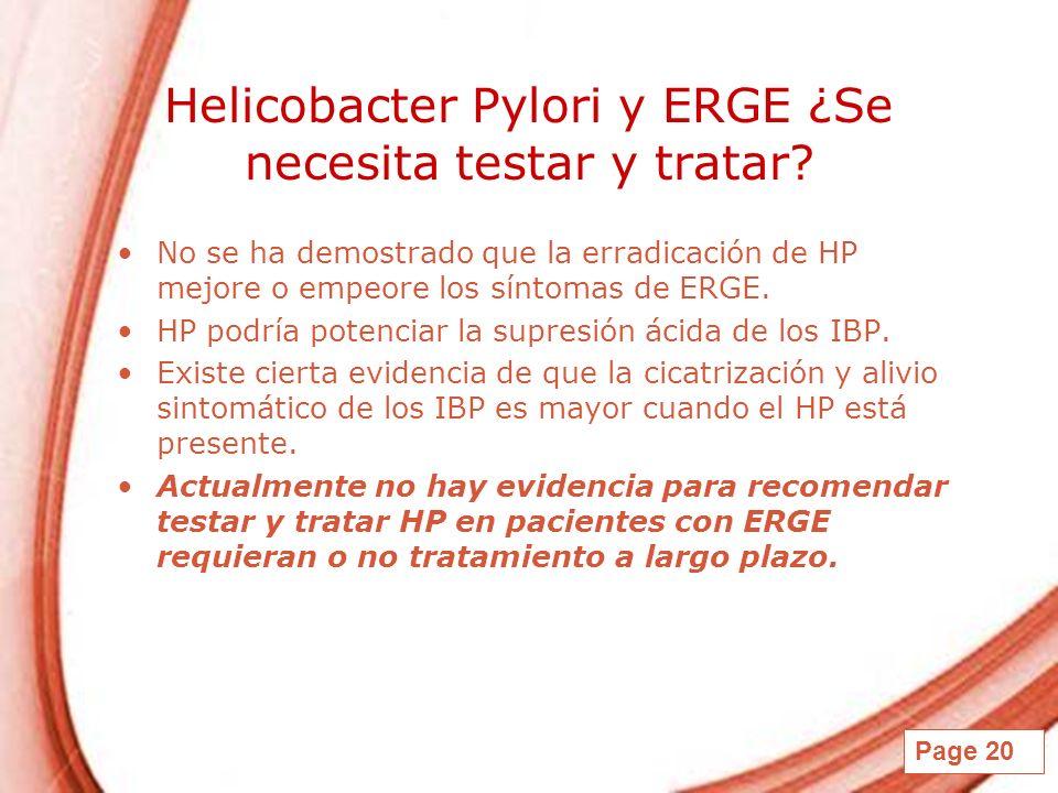 Helicobacter Pylori y ERGE ¿Se necesita testar y tratar