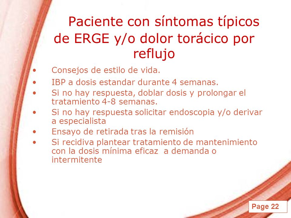 Paciente con síntomas típicos de ERGE y/o dolor torácico por reflujo