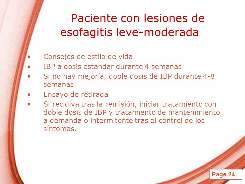 Paciente con lesiones de esofagitis leve-moderada