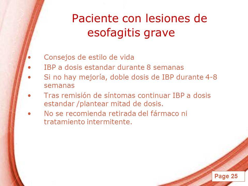 Paciente con lesiones de esofagitis grave