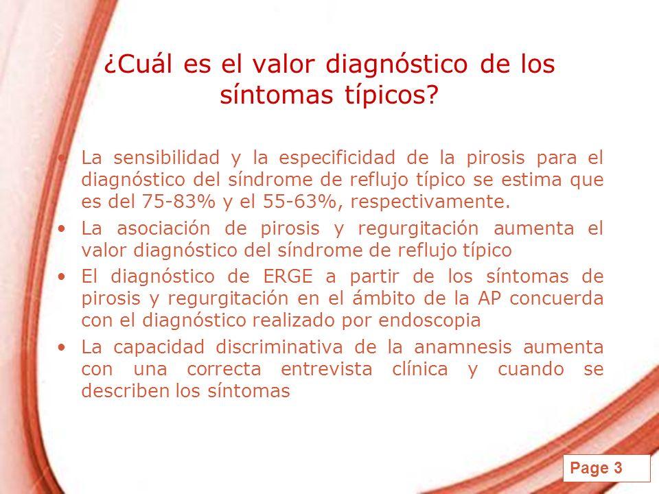 ¿Cuál es el valor diagnóstico de los síntomas típicos