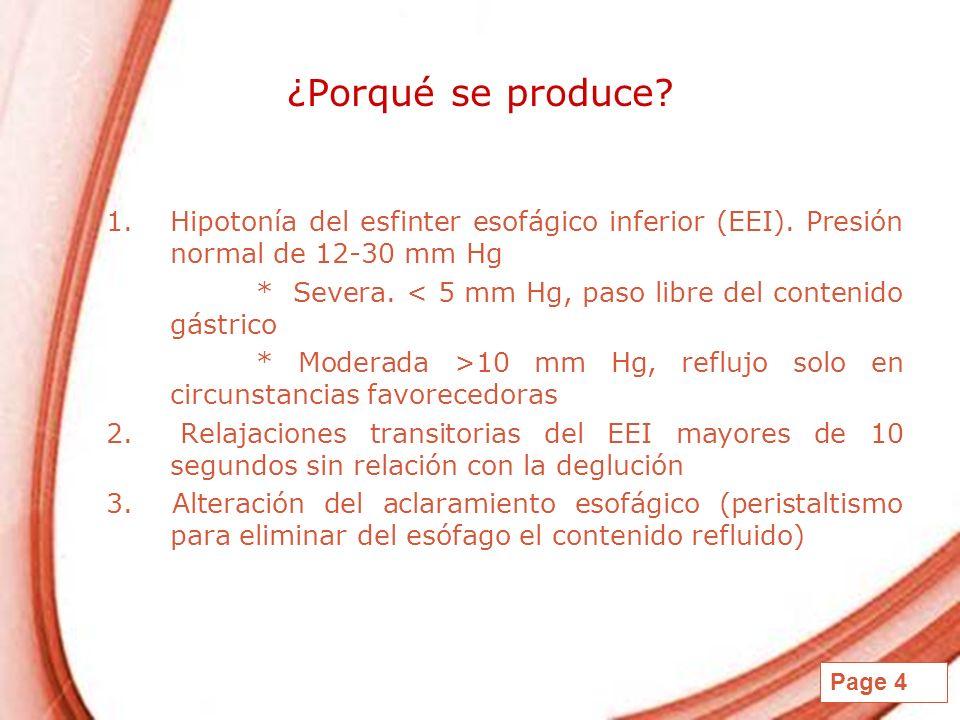 ¿Porqué se produce Hipotonía del esfinter esofágico inferior (EEI). Presión normal de 12-30 mm Hg.