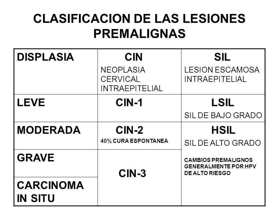 CLASIFICACION DE LAS LESIONES PREMALIGNAS