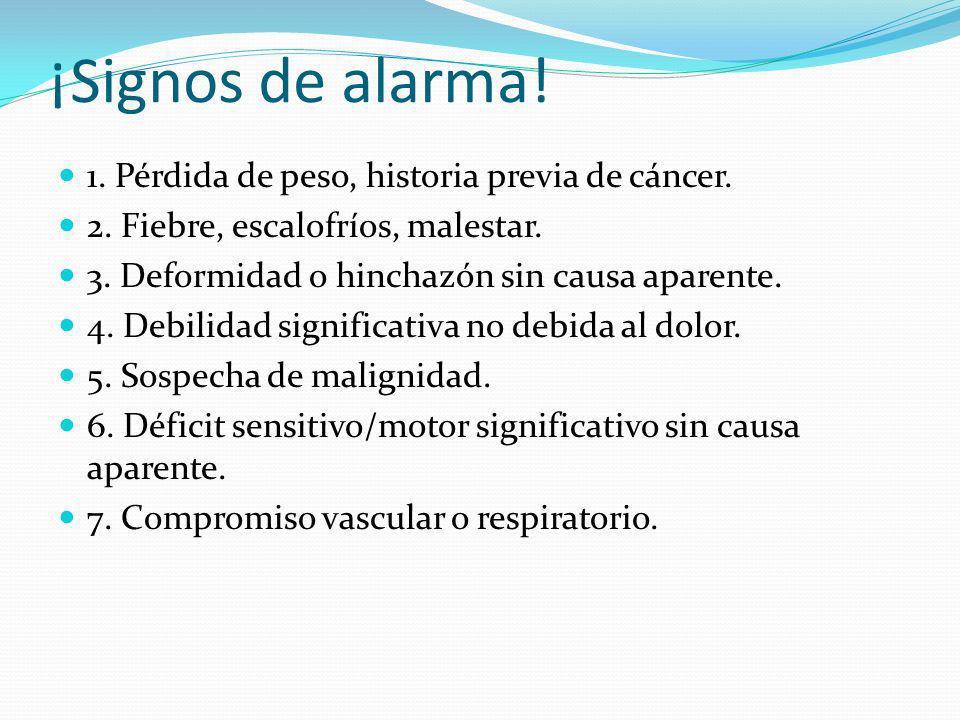 ¡Signos de alarma! 1. Pérdida de peso, historia previa de cáncer.