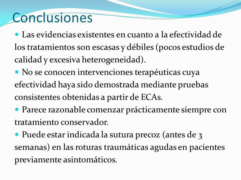 Conclusiones Las evidencias existentes en cuanto a la efectividad de