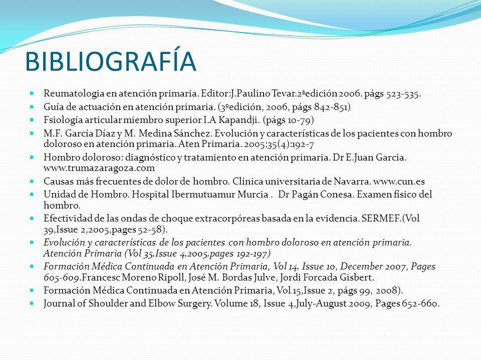 BIBLIOGRAFÍA Reumatologia en atención primaria. Editor:J.Paulino Tevar.2ªedición 2006. págs 523-535.