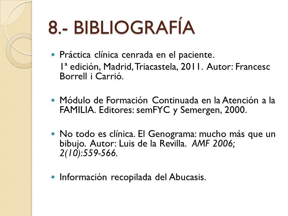 8.- BIBLIOGRAFÍA Práctica clínica cenrada en el paciente.