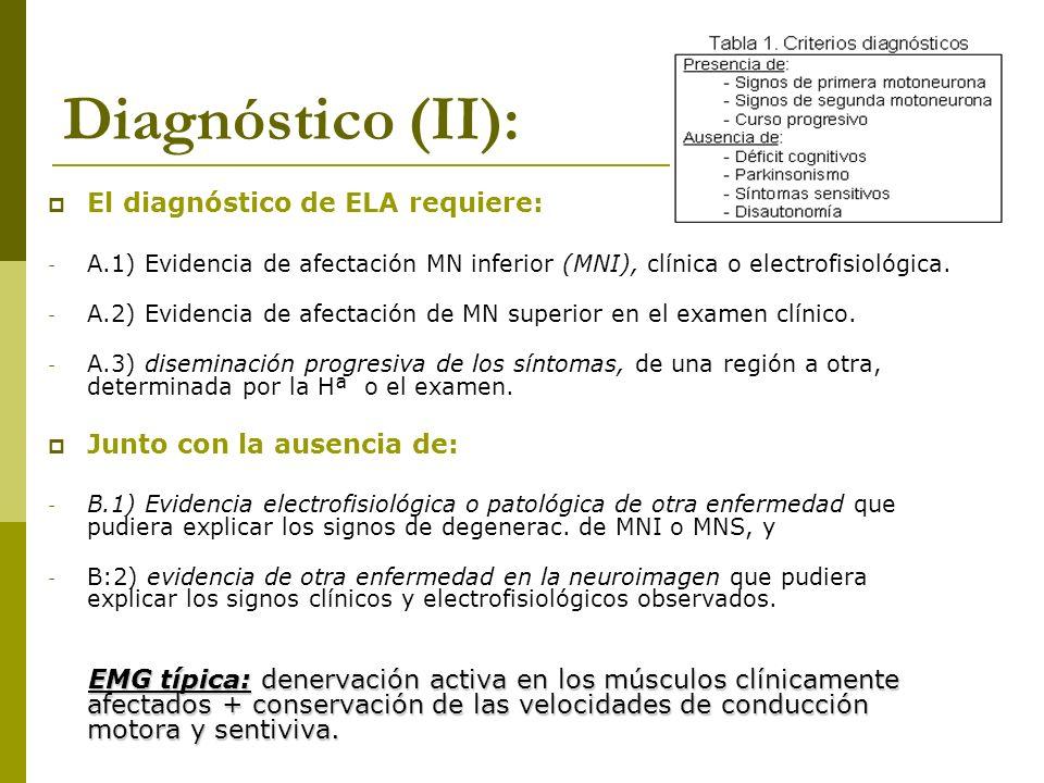 Diagnóstico (II): El diagnóstico de ELA requiere: